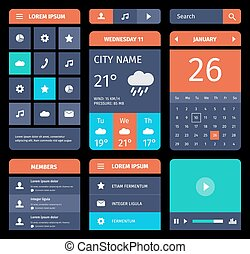Set of flat mobile elements, design and icons for app or web.