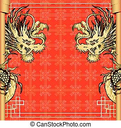 frame red dragon gold-colored sticker 4