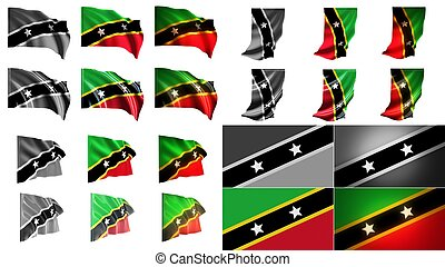 st kitts & nevis flags waving styles small size set