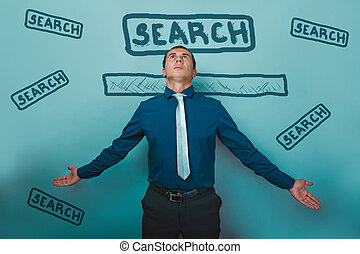 man businessman arms outstretched serious internet search...