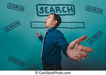 man businessman arms outstretched shouting stands sideways...