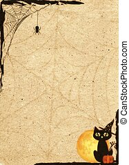 Paper backdrop stylized for Halloween Frame with net and cat...