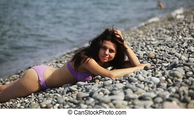 Girl on beach - In Black sea on shores of beautiful girl