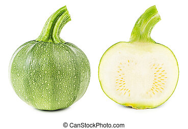 Courgettes cut in half isolated - Fresh courgettes cut in...