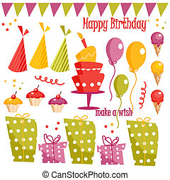 Birthday party graphic elements  illustration