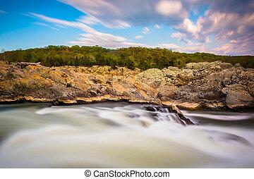 Long exposure of rapids at Great Falls Park, Virginia