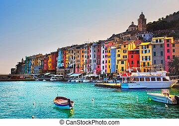 Portovenere village on the sea Cinque terre, Ligury Italy -...