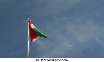 Request a Hungary flag in front of blue sky