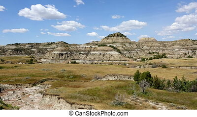Theodore Roosevelt NP Badlands Pan - Camera pans across a...