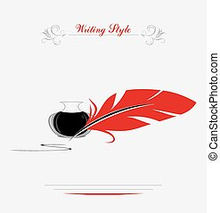 Feather and inkwell. Writing style. Vector illustration
