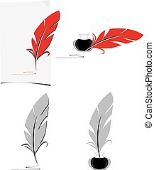 Feather and inkwell. Elements for the literary design....