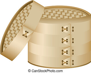 Bamboo Steamer. Editable Vector Image. Cover can be placed...