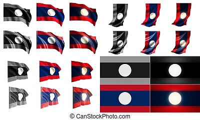 laos  flags waving styles small size set