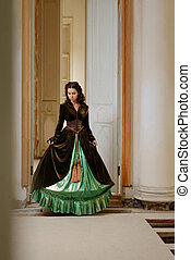 Young girl at the green dress - Young beautiful girl at the...