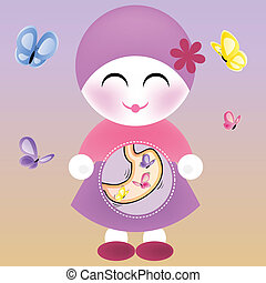 Girl with Butterflies in the Stomach. Editable Vector...