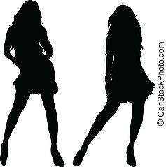 2 sexy Women silhouettes on white background. Editable...