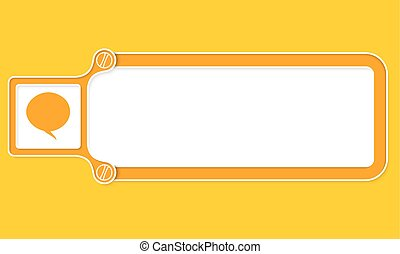 Yellow box with white frame for your text and speech bubble