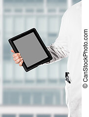 Doktor with a digital tablet - Doctor in a white coat,...