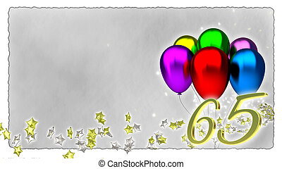 birthday concept with colorful baloons - 65th