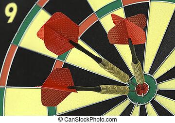 Three Bulls Eye - Three Darts in the Bulls Eye on Dart...