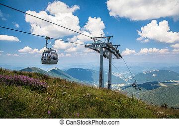 Cableway in range Mala Fatra, Slovakia - VRATNA, SLOVAKIA -...