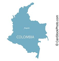 blue map of Colombia with indication of Bogota