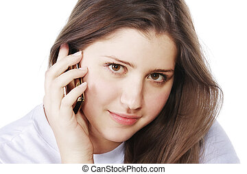 Brunette with mobile