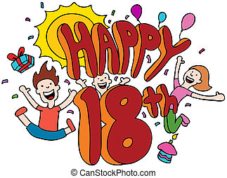 Happy 18th cartoon isolated on a white background