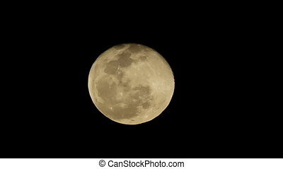 Full Super moon on black night sky