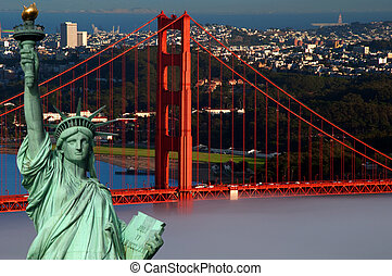 tourism concept san francisco and statue liberty - photo...