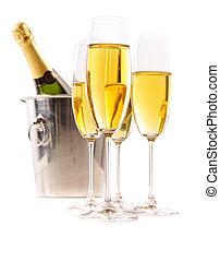champaña, anteojos, hielo, cubo, blanco