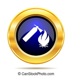 Fire icon Internet button on white background