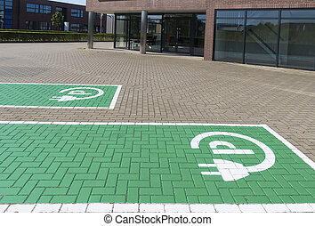 electric car parking place - parking place and charging...