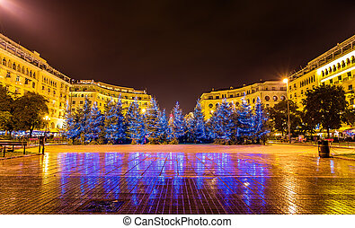 Christmas trees on Aristotelous Square in Thessaloniki -...