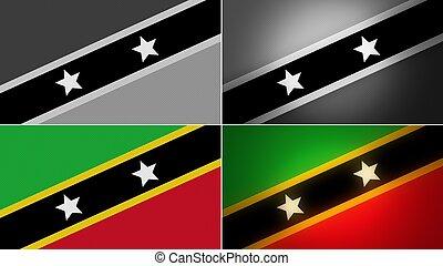 st kitts & nevis flag backgrounds styles set