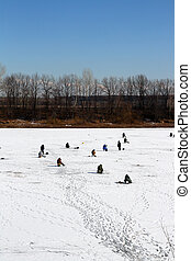 ice winter fishing - many fishermans on frozen lake