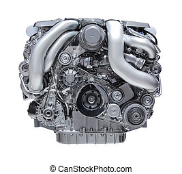 Car engine - modern car engine isolated on white background