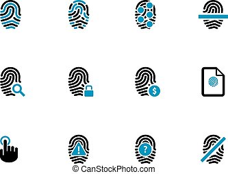 Security fingerprint duotone icons. - Security fingerprint...