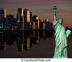 new york cityscape skyline at night, nyc, usa - photo of new...