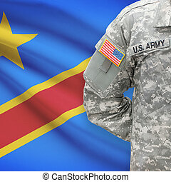 American soldier with flag on background - Democratic...