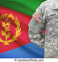 American soldier with flag on background - Eritrea