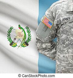 norteamericano, soldado, con, bandera, en, Plano de fondo,...