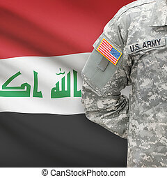 American soldier with flag on background - Iraq
