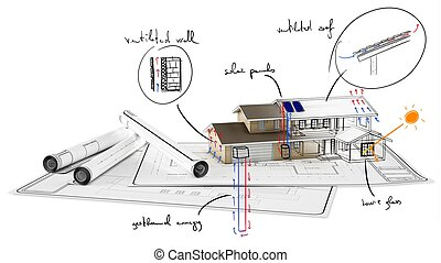 Home under construction - Plan on paper of house under...