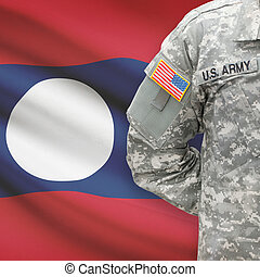 American soldier with flag on background - Laos
