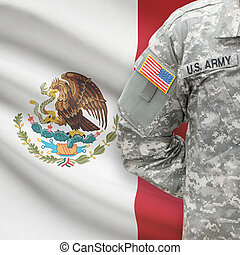 American soldier with flag on background - Mexico