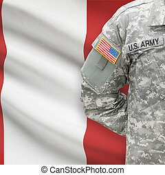 American soldier with flag on background - Peru