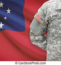 americano, soldato, con, bandiera, su, fondo, -, Samoa,