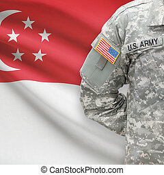 American soldier with flag on background - Singapore