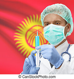 Doctor with syringe in hands and flag on background series -...